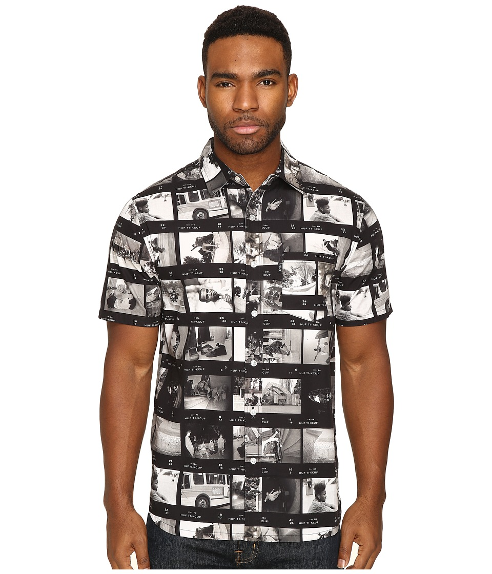 HUF - EMB Short Sleeve Woven Shirt (Black) Men's Clothing