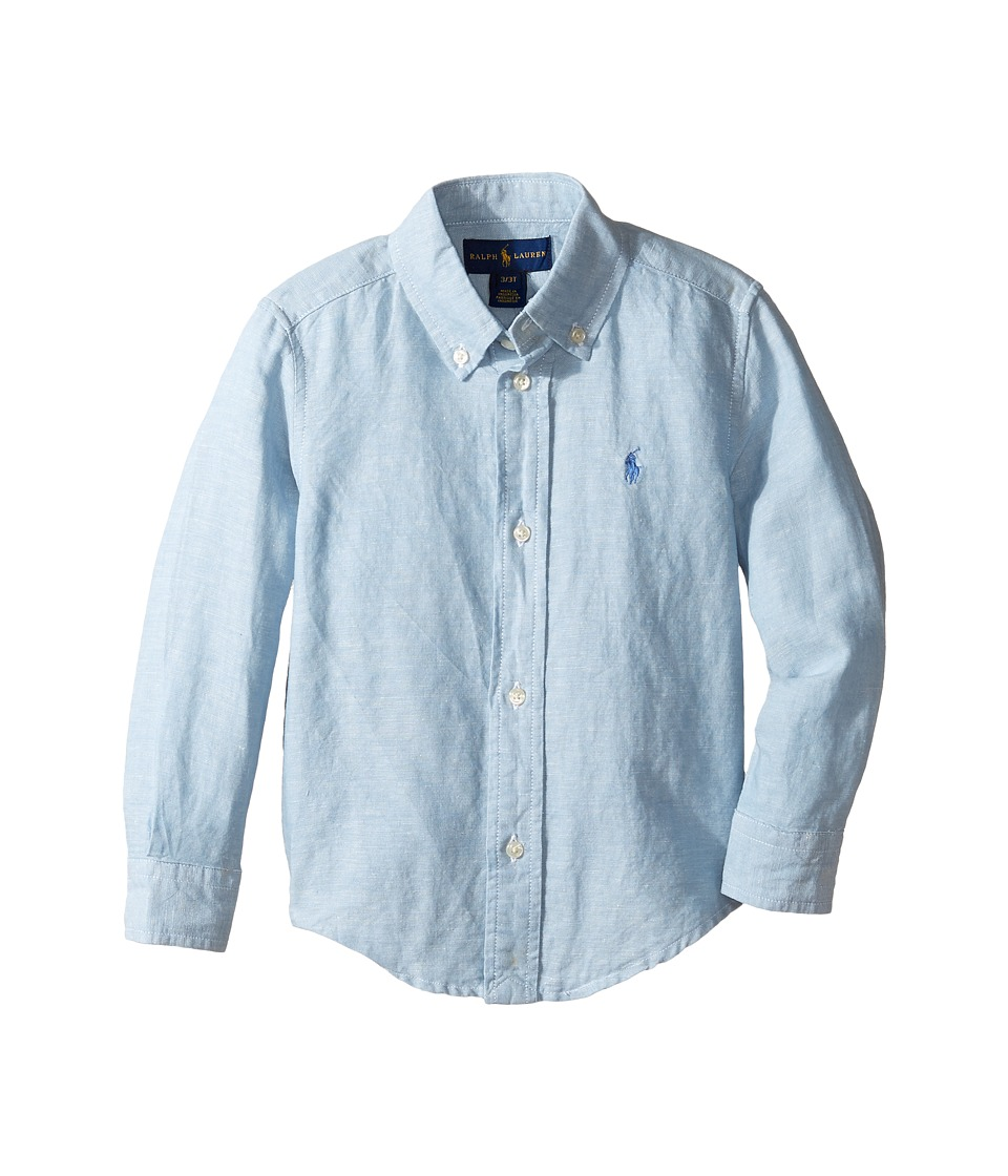 Polo Ralph Lauren Kids - Linen Chambray Long Sleeve Button Down Shirt (Toddler) (Light Blue) Boy's Long Sleeve Button Up