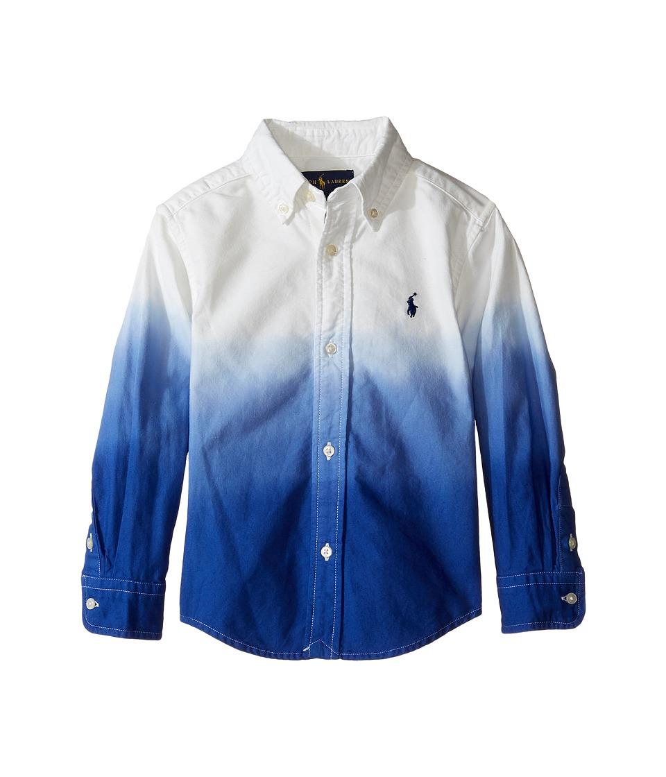 Polo Ralph Lauren Kids - Oxford Dip-Dye Shirt (Toddler) (White/Cruise Royal) Boy's Long Sleeve Button Up