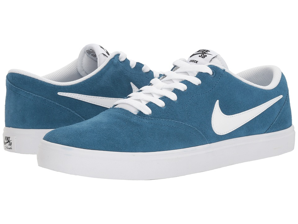 Nike SB - Check Solar Suede (Industrial Blue/White/Black) Men's Skate Shoes