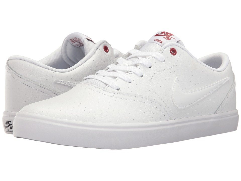 Nike SB - Check Solar Premium (White/White/Cedar) Men's Skate Shoes
