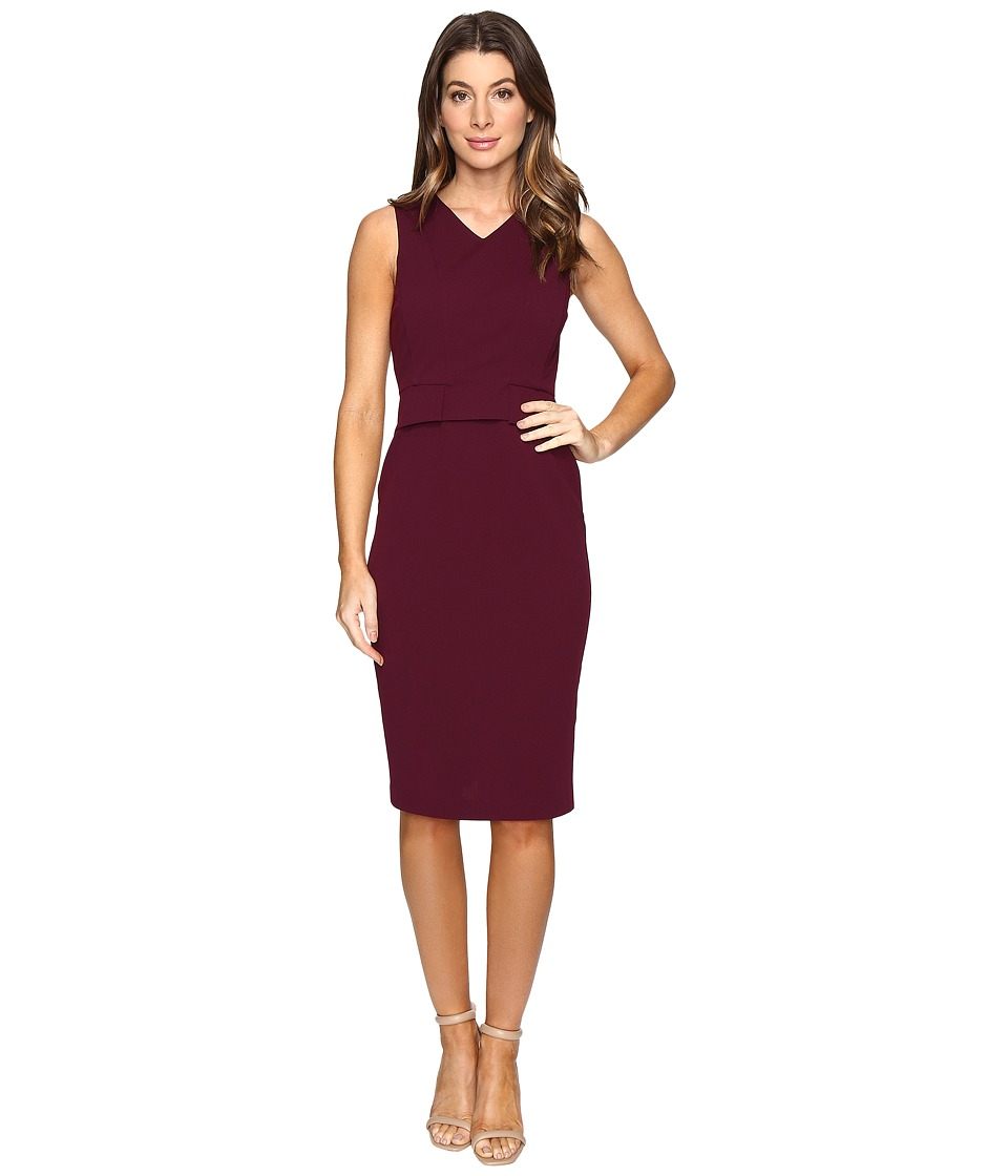 CATHERINE Catherine Malandrino - Sleeveless V-Neck Sheath w/ Demi Peplum (Zinfandel) Women's Dress