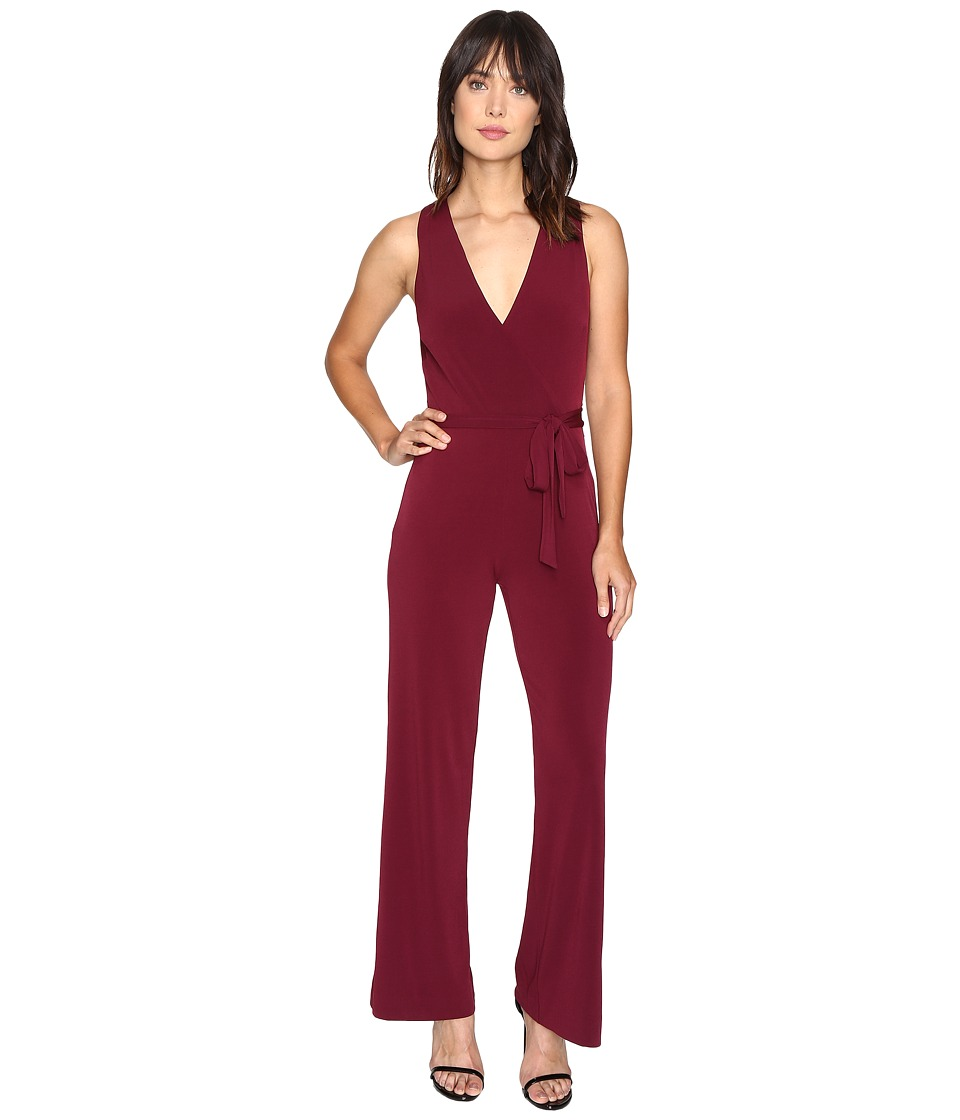 CATHERINE Catherine Malandrino - Sleeveless Jumpsuit w/ Self Belt (Zinfandel) Women's Jumpsuit & Rompers One Piece