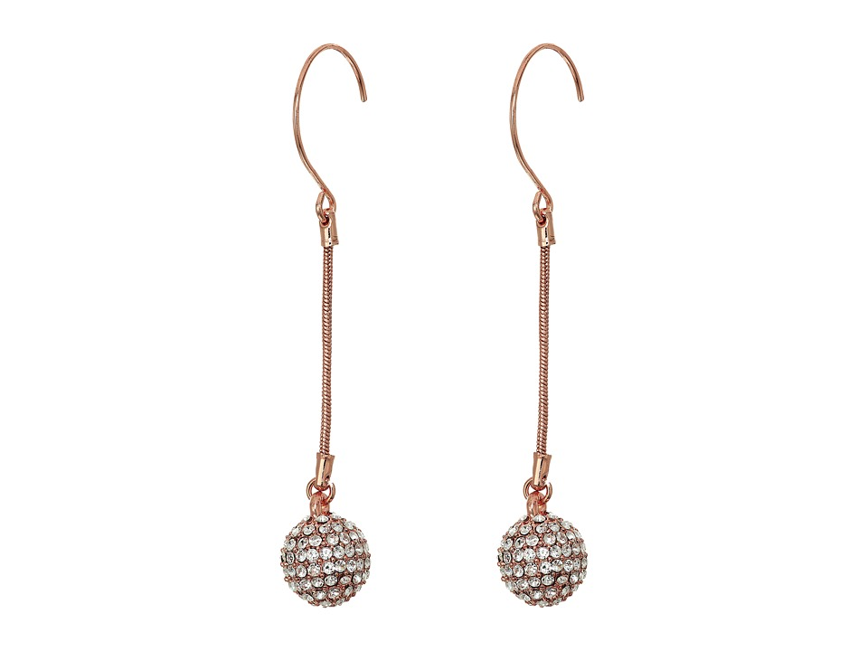 Betsey Johnson - Rose Gold Fireball Linear Earrings (Crystal) Earring