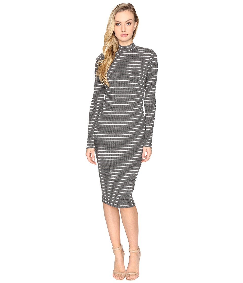 CATHERINE Catherine Malandrino - Cut Sew Rib Long Sleeve Mock Neck Dress (Grey/White) Women's Dress