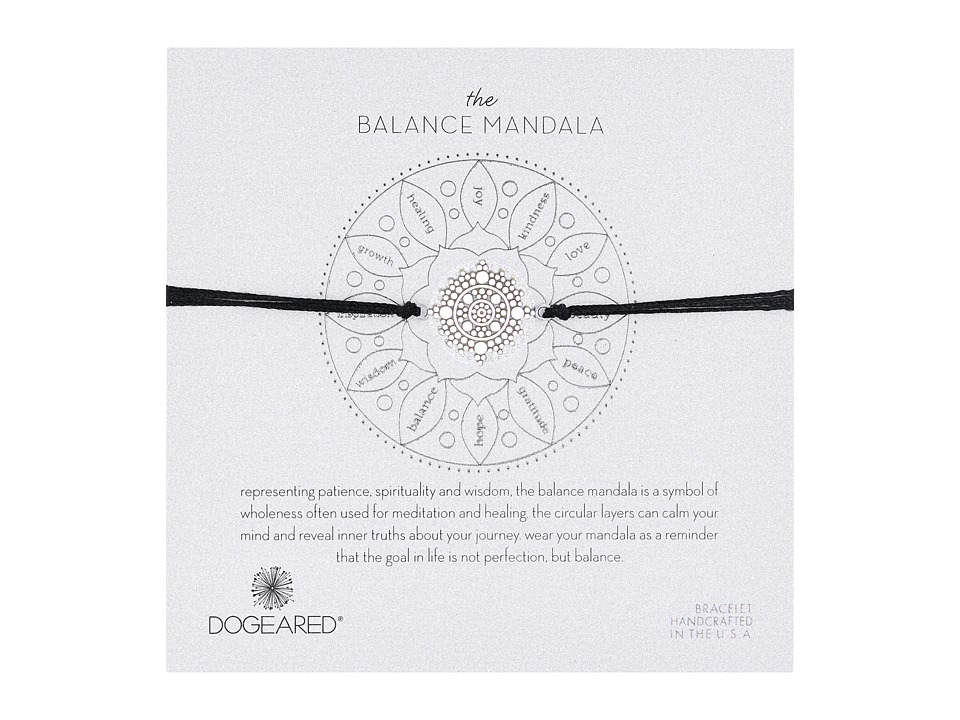 Dogeared - Balance Mandala Center Circle Silk Bracelet (Sterling Silver/Black) Bracelet