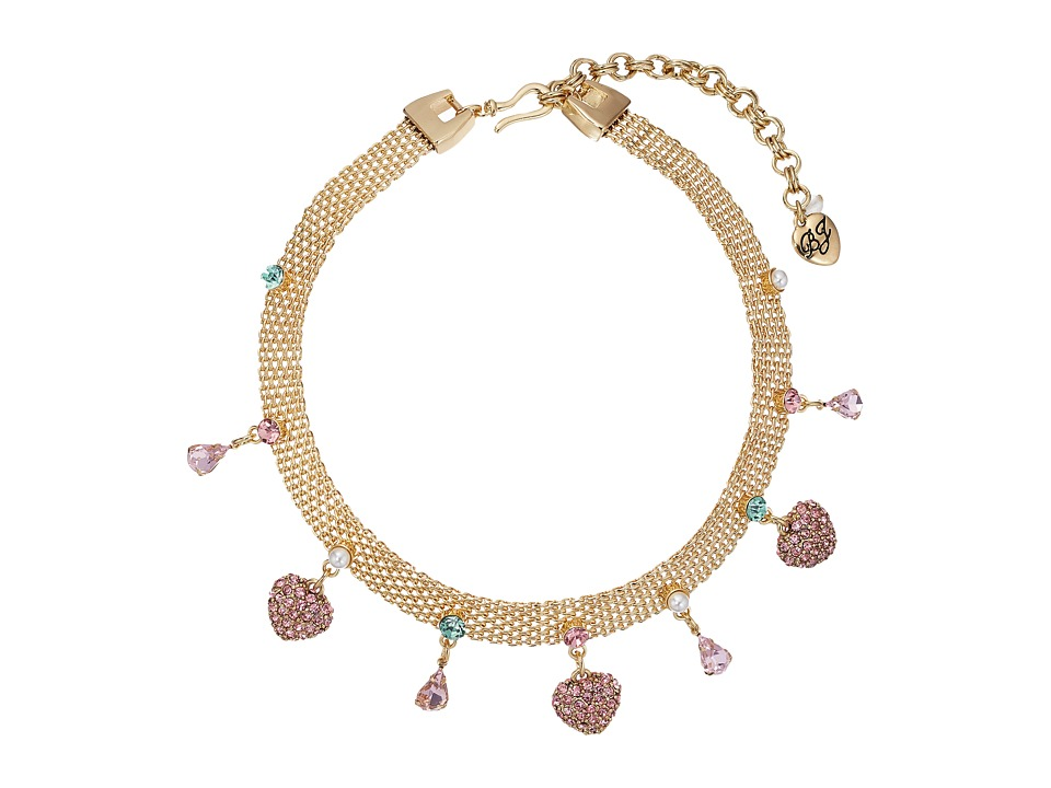 Betsey Johnson - Multi Charm Mesh Choker Necklace (Multi) Necklace
