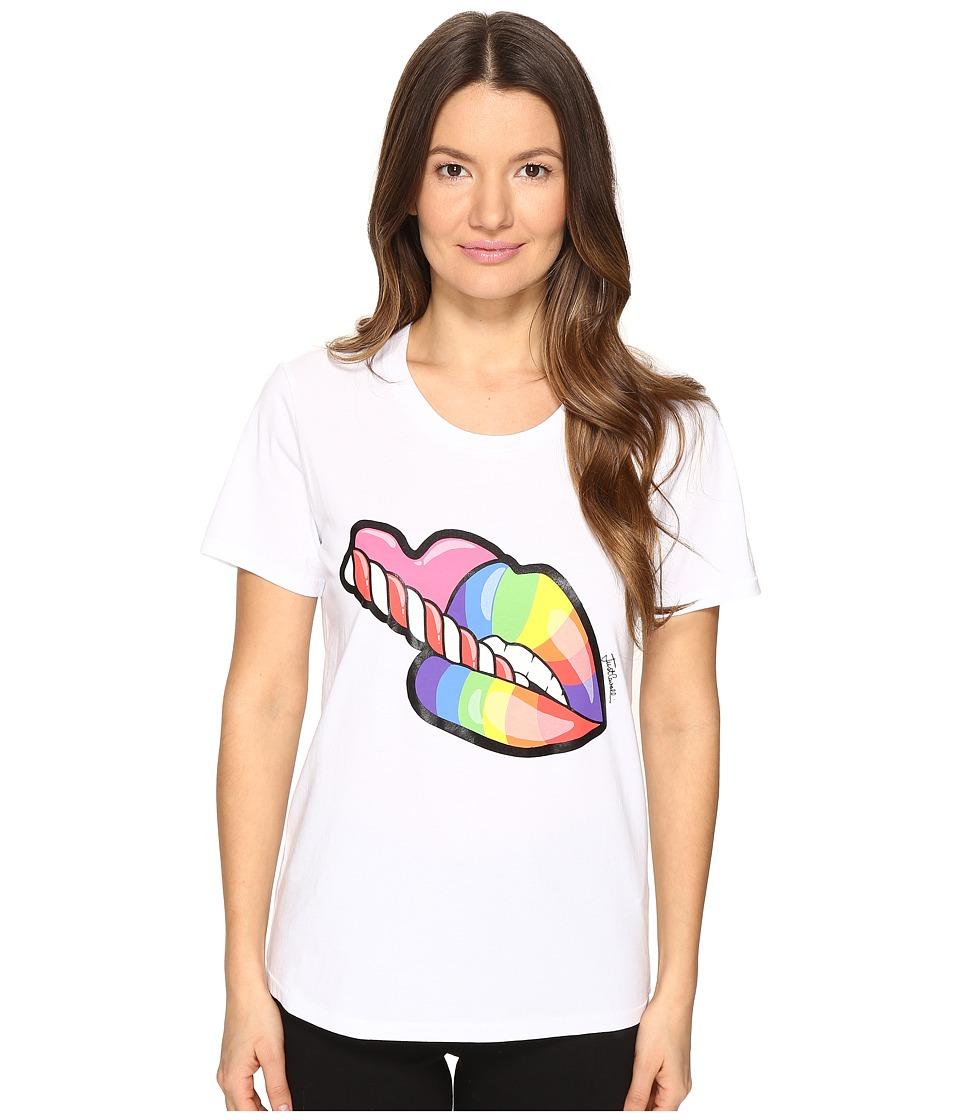 Just Cavalli - Rainbow Lip Short Sleeve T-Shirt (White) Women's T Shirt