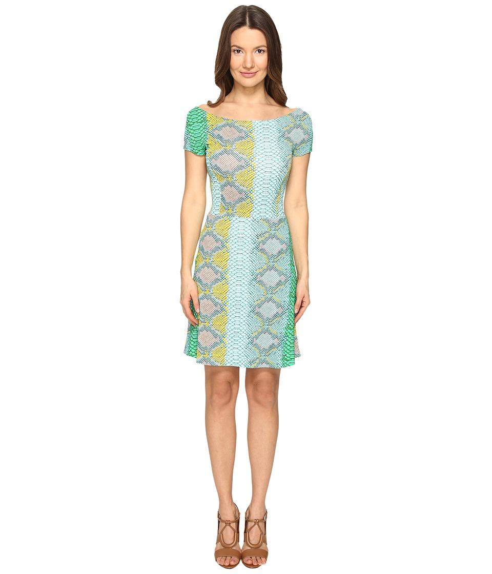 Just Cavalli - Iridescent Python Print Shirt Sleeve Dress (Ocean Variant) Women's Dress
