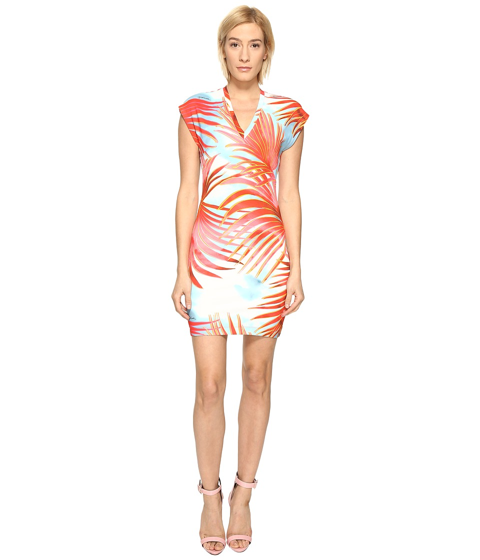 Just Cavalli Palm Print Fitted Short Sleeve Dress (Fire Variant) Women