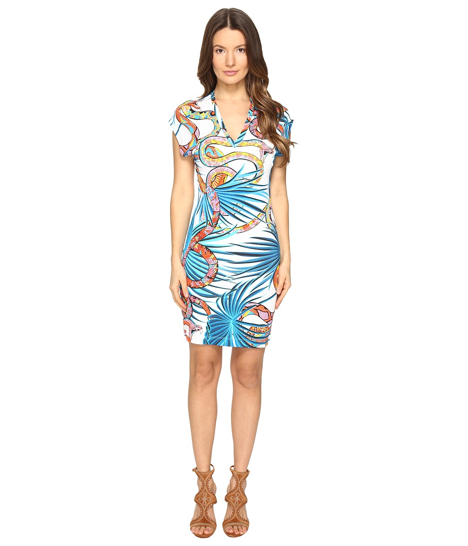 Just Cavalli - Temptation Printed Short Sleeve Dress (White Variant) Women's Dress