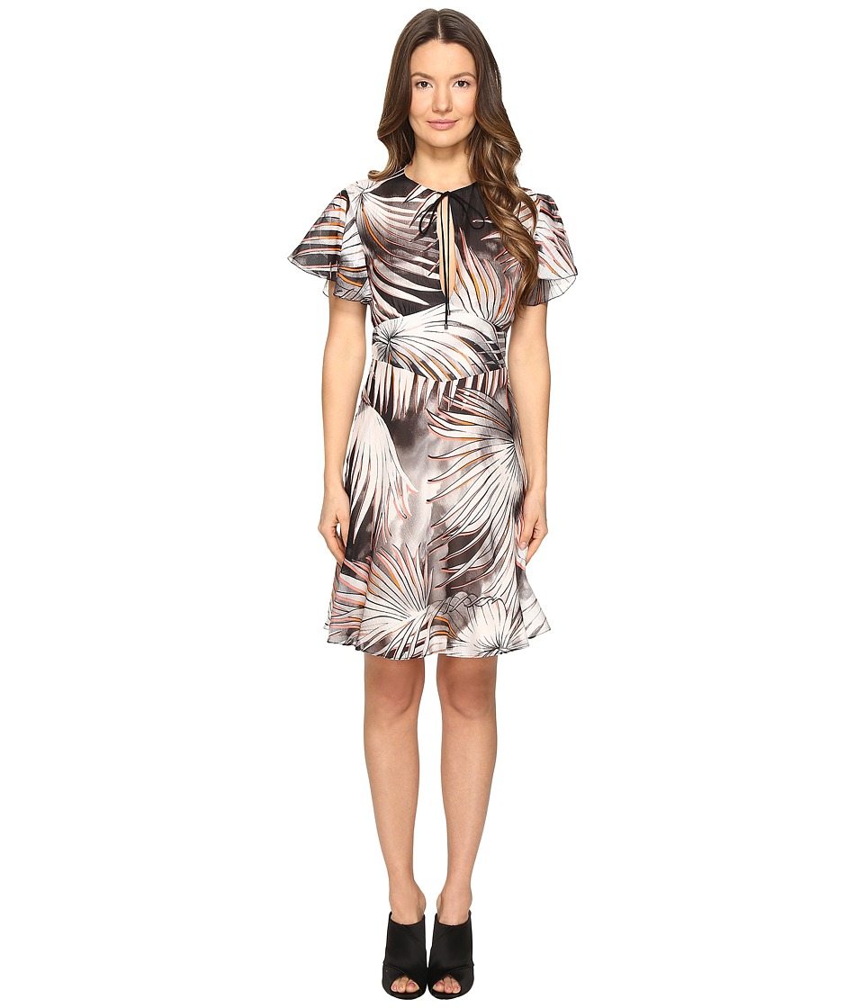 Just Cavalli Tie-Dye Palm Print Flutter Sleeve Dress (Black/White Variant) Women