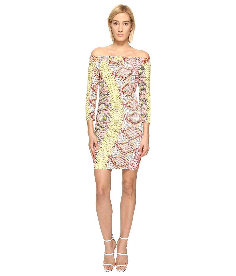 Just Cavalli Iridescent Python Print Off the Shoulder Dress