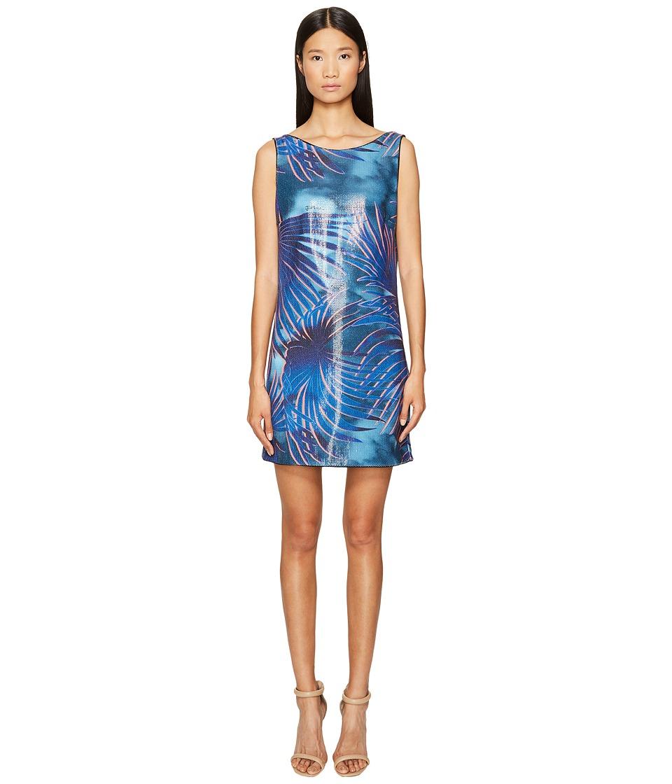 Just Cavalli - Tie-Dye Palm Print Sleeveless Dress (Blue Variant) Women's Dress