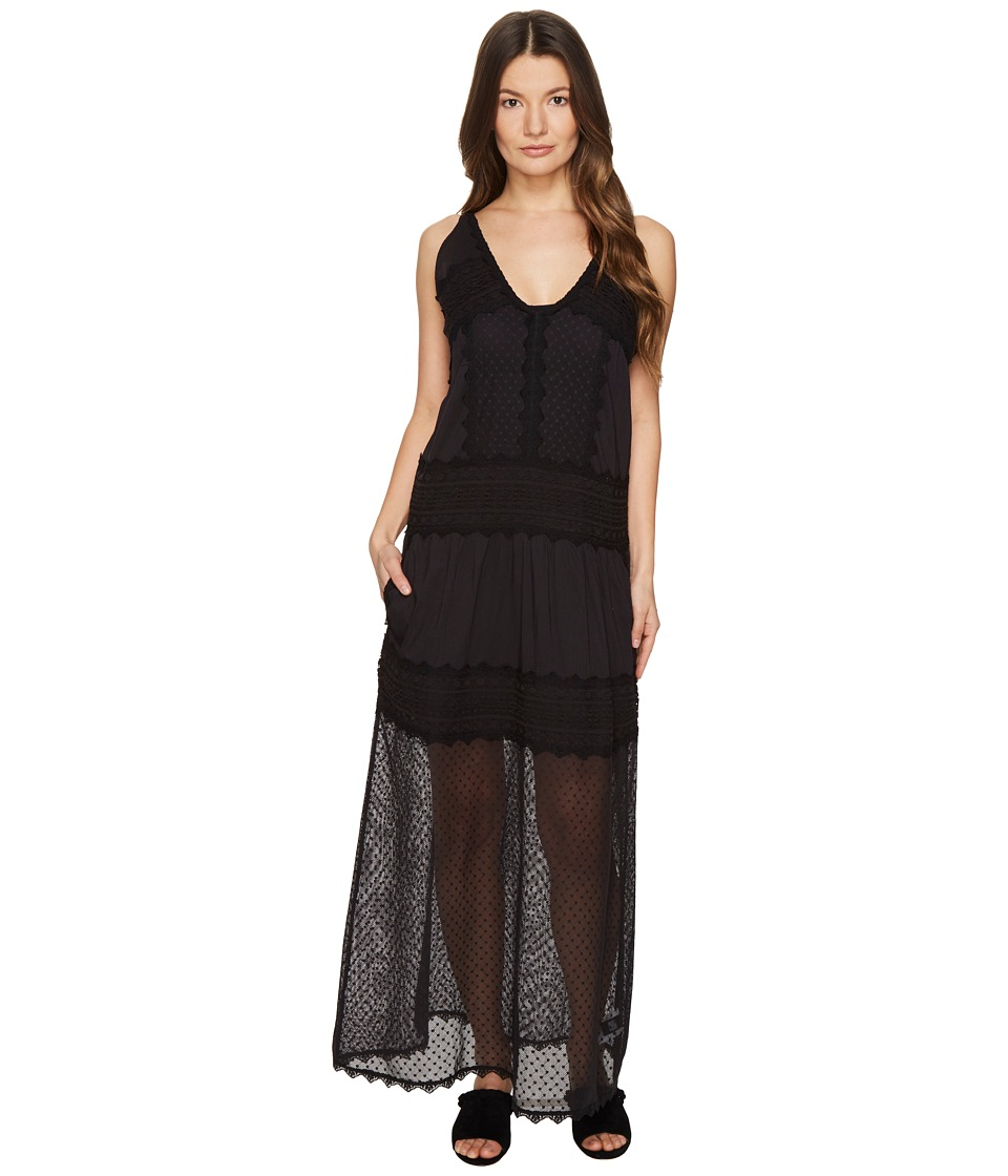 Just Cavalli Sleeveless Long Lace Sheer Dress (Black) Women