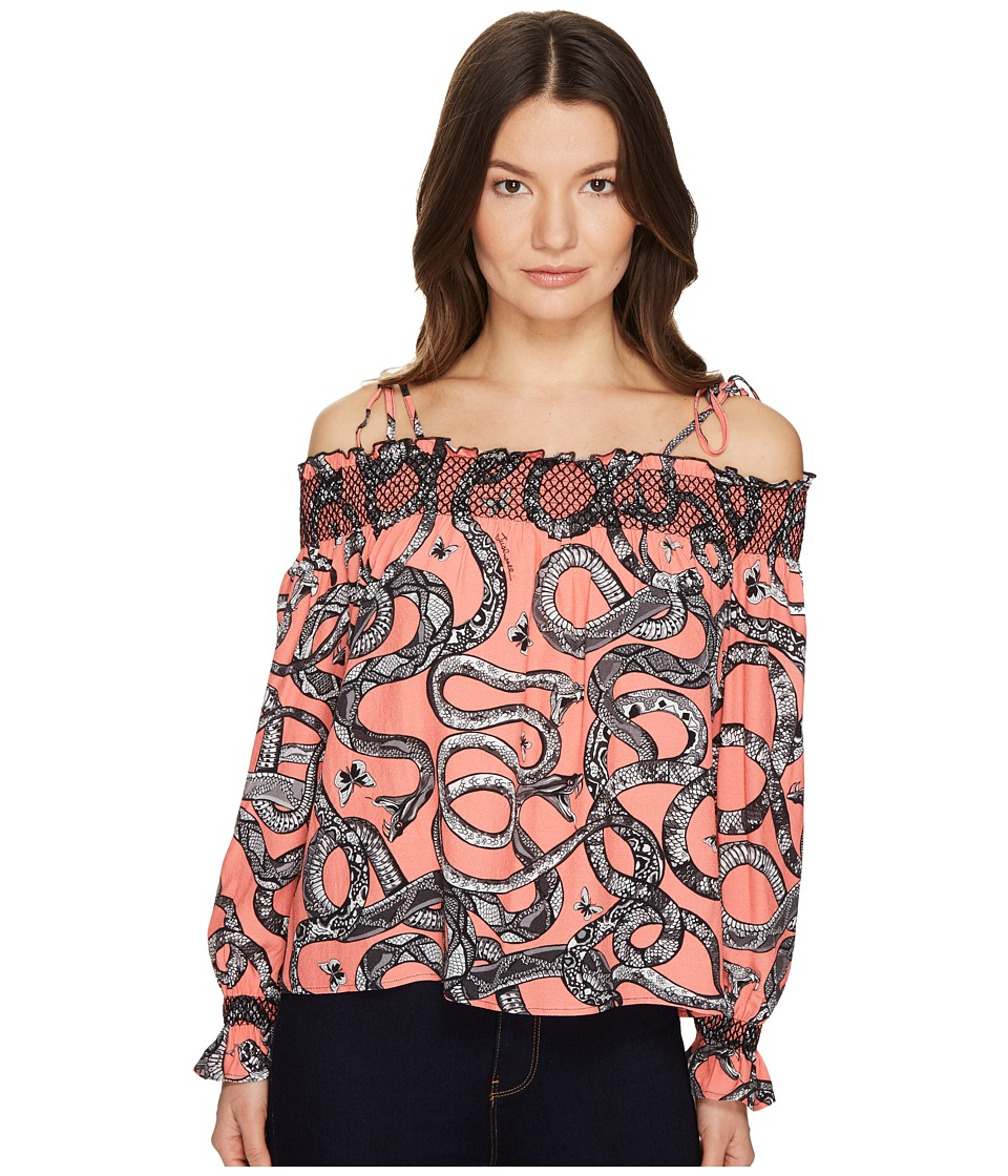 Just Cavalli - Off the Shoulder Printed Long Sleeve Top (Pop Pink Variant) Women's Clothing