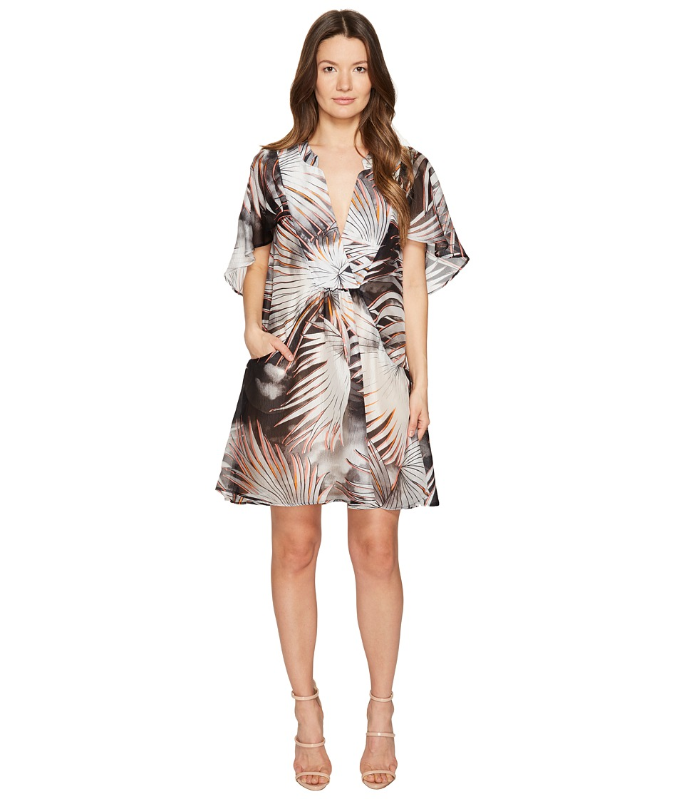 Just Cavalli - Palm Print Sheer Short Dress (Black/White Variant) Women's Dress
