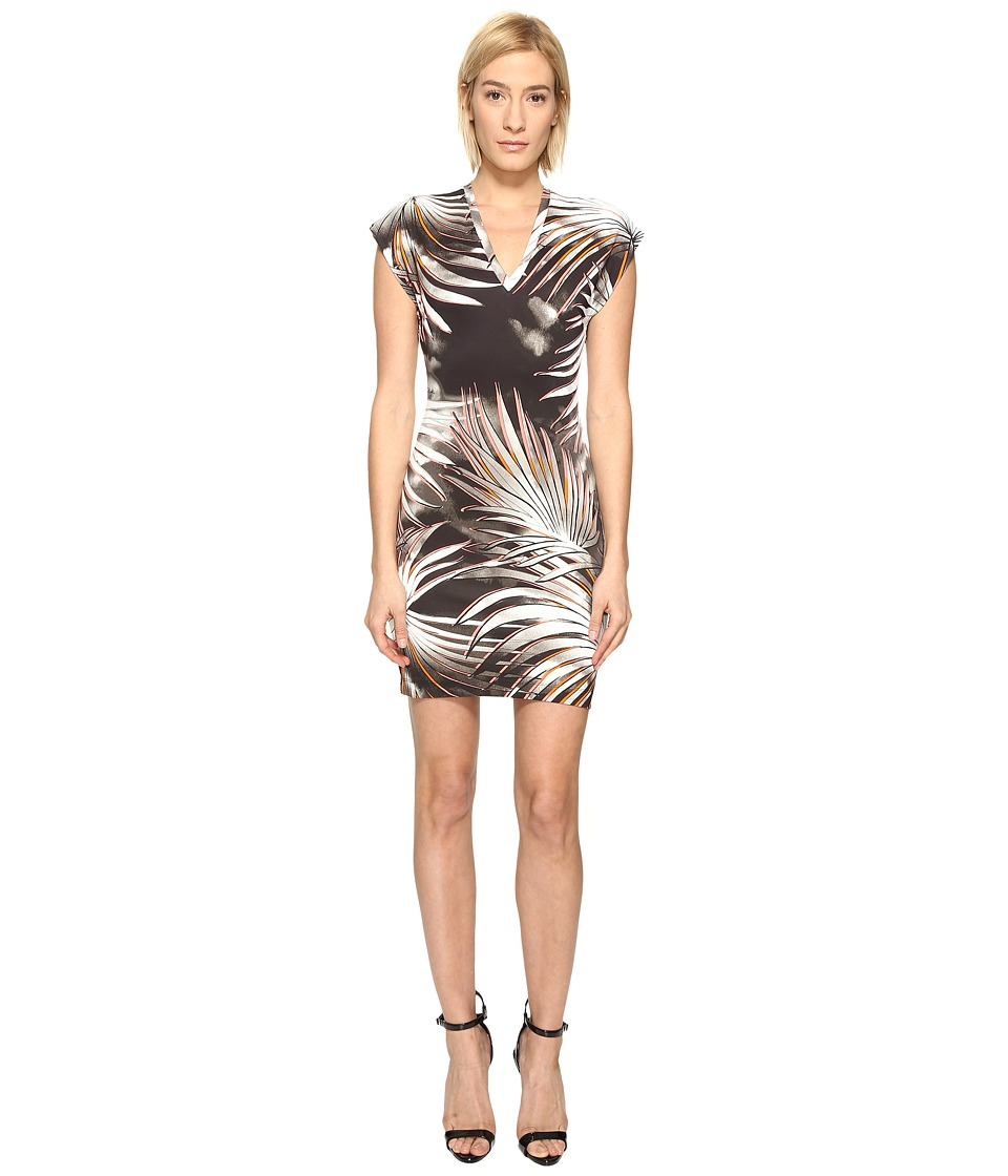 Just Cavalli Palm Print Fitted Short Sleeve Dress (Multicolor Variant 1) Women