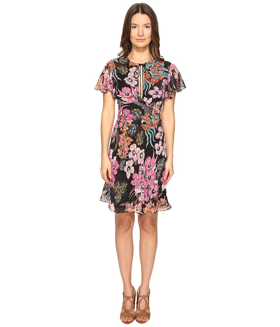 Just Cavalli Flower Power Print Flutter Sleeve Dress (Black Variant) Women