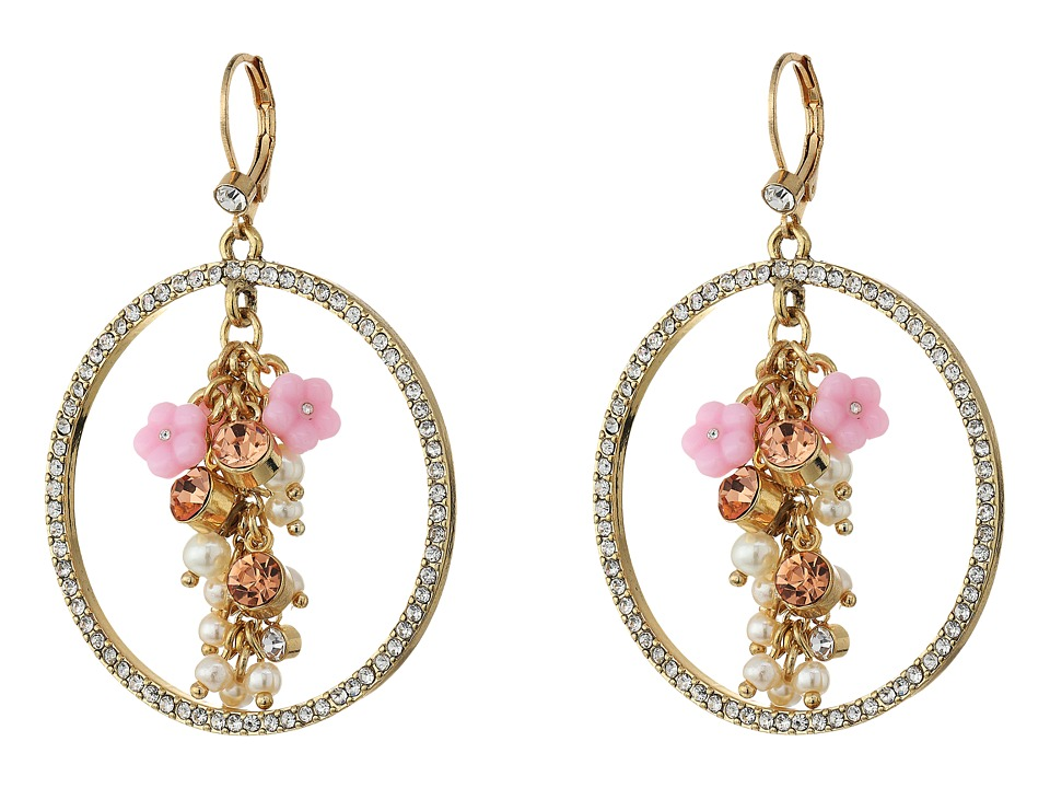 Betsey Johnson - Pink Multi Flower Gypsy Hoop Earrings (Multi) Earring