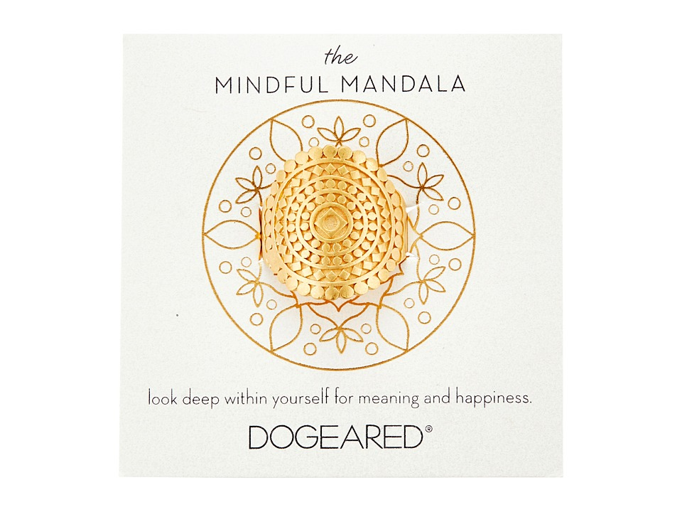 Dogeared - Mindful Mandala Center Square Ring (Gold Dipped) Ring