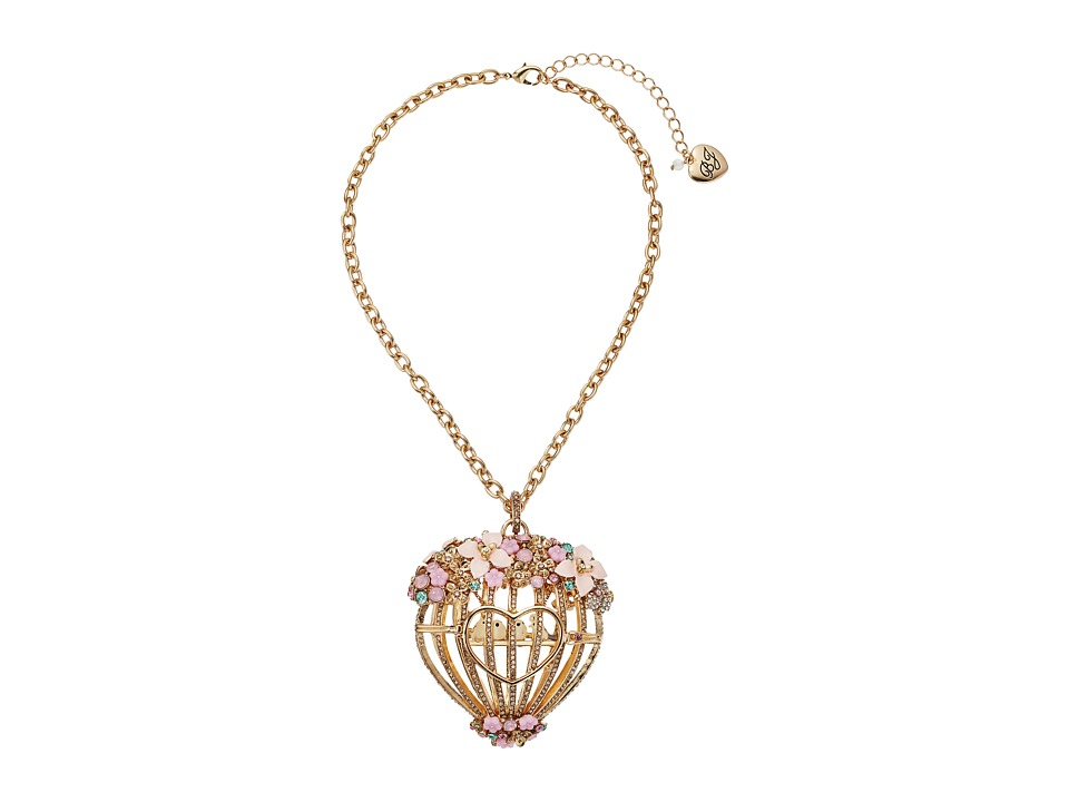 Betsey Johnson - Multi Flower Cage Pendant Necklace (Multi) Necklace