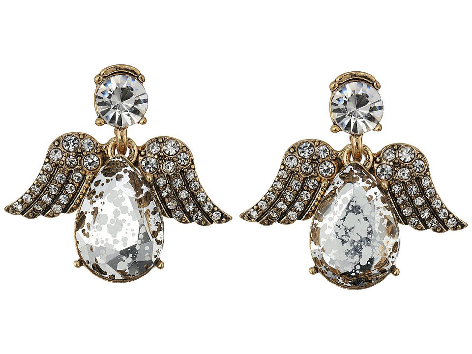 Betsey Johnson - Crystal/Gold Angel Stud Earrings (Crystal) Earring