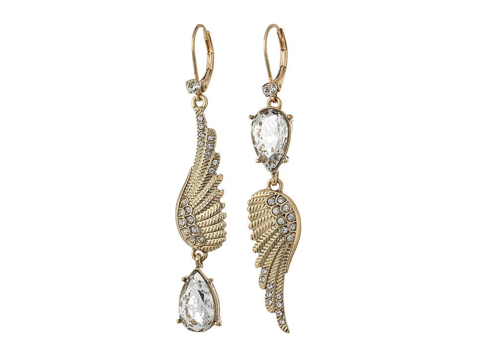 Betsey Johnson - Crystal/Gold Feather Earrings (Crystal) Earring