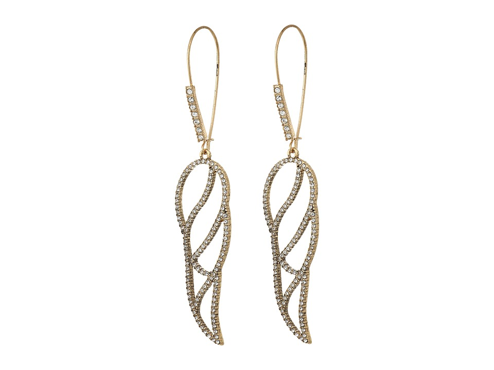 Betsey Johnson - Crystal/Gold Wing Shepherd's Hook Earrings (Crystal) Earring