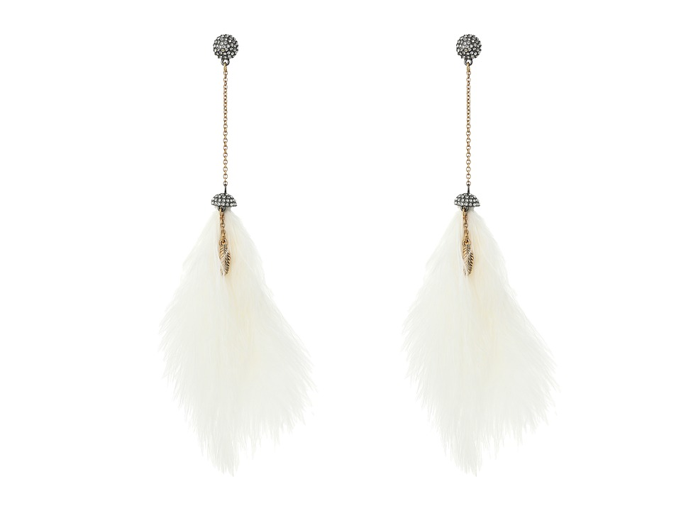 Betsey Johnson - Crystal/White Pom Pom Linear Earrings (Crystal) Earring