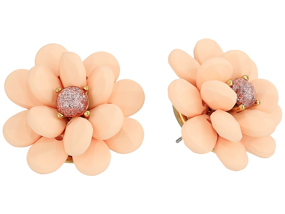Betsey Johnson - Pink Flower Rubber Button Earrings (Pink) Earring