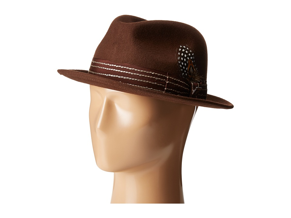 Stacy Adams - Pinched Fedora with Stitched Band (Brown) Fedora Hats