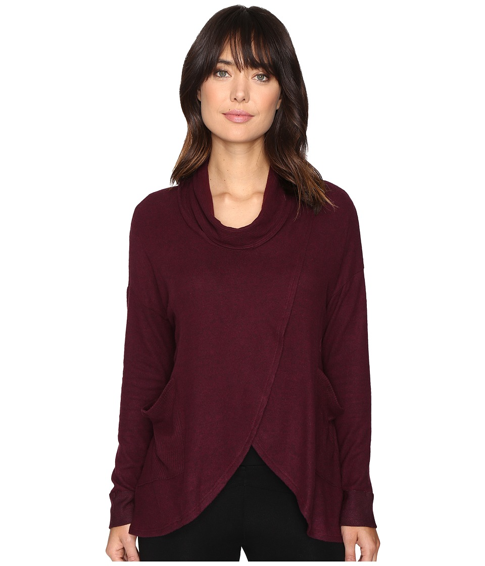 Culture Phit - Leona Long Sleeve Cowl Neck Sweater with Pockets (Wine) Women's Sweater