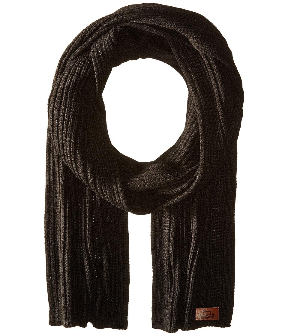 Woolrich - Soft Acrylic Rib Scarf (Black) Scarves