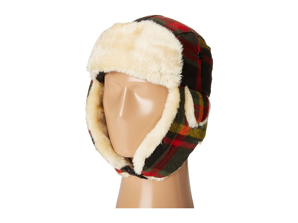 Woolrich - Vintage Wool Blend Aviator (Red/Plaid) Caps