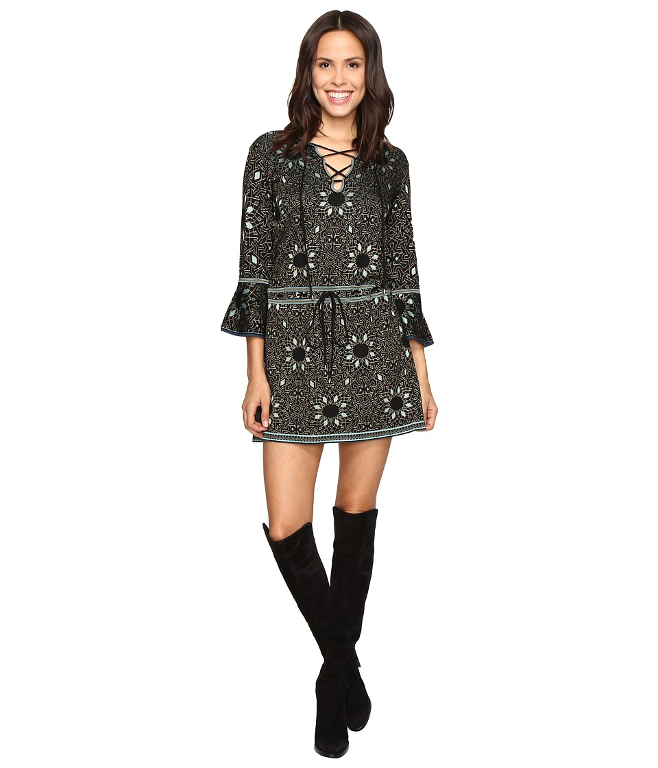 Rachel Zoe - Tenley Jacquard Dress (Black/Turquoise) Women's Dress