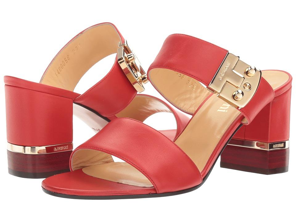 a. testoni Nappa Leather Buckle Strap Heel (Ginger) Women
