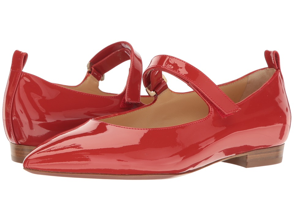 a. testoni - Pointed Toe Strapped Flat (Red) Women's Shoes