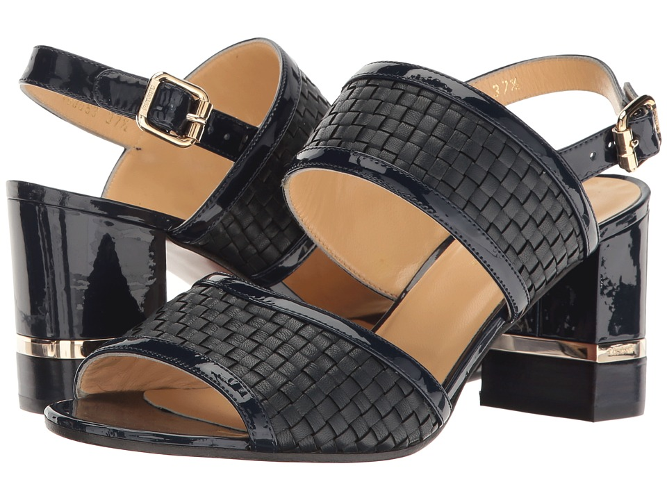 a. testoni Nappa and Patent Leather Strap Heel (Navy Woven/Navy Patent) Women