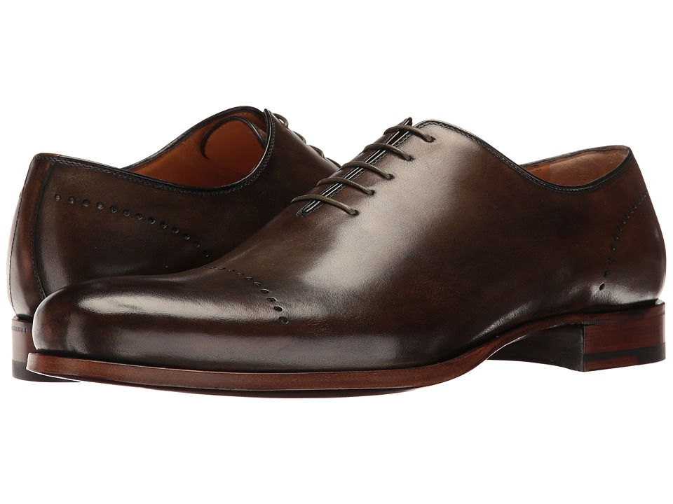 Image of a. testoni - Delave Calf Perforated Toe Uniform Oxford (Antique Green) Men's Lace up casual Shoes
