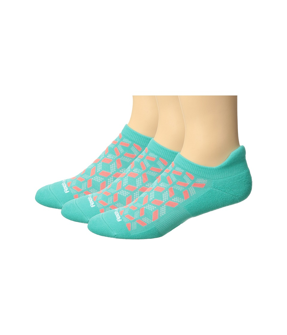 Feetures - High Performance Cushion No Show Tab 3-Pair Pack (Turquoise) No Show Socks Shoes