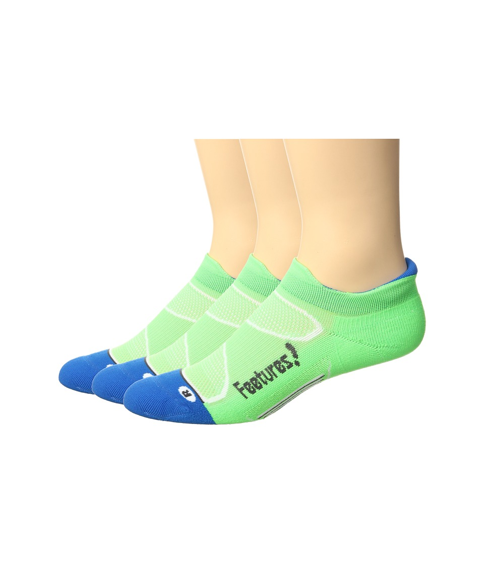 Feetures - Elite Light Cushion No Show Tab 3-Pair Pack (Volt/Carbon) No Show Socks Shoes