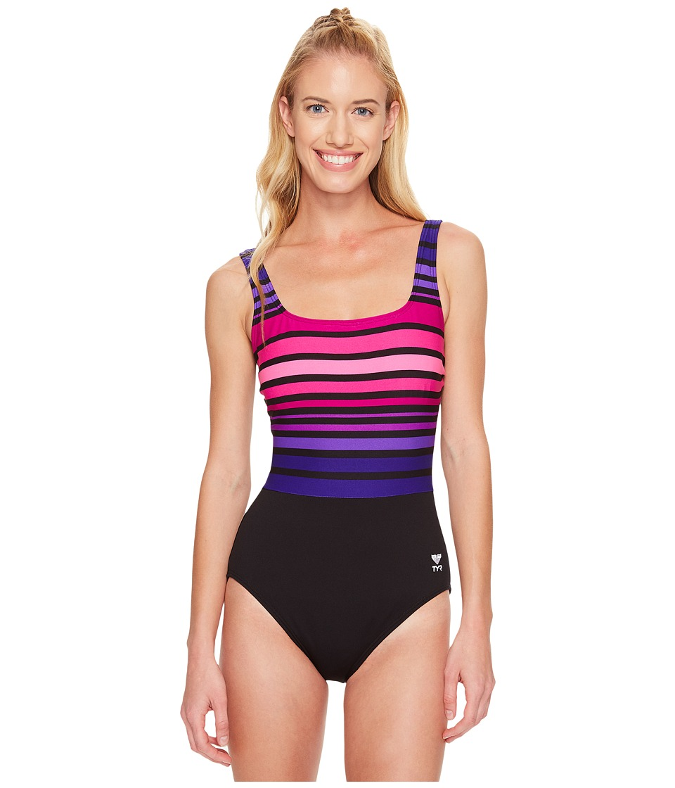 TYR - Ombre Stripe Aqua Controlfit (Black/Purple) Women's Swimsuits One Piece