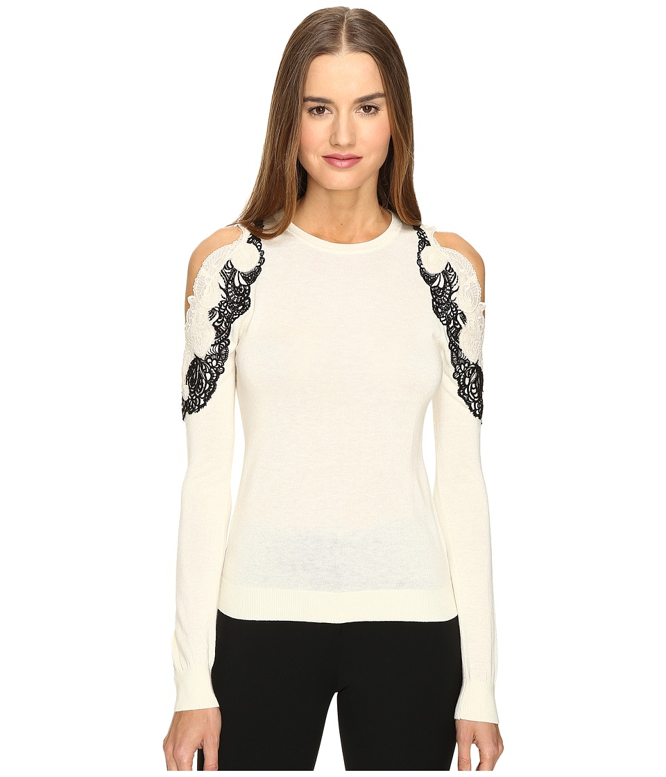 YIGAL AZROU L - Cold Shoulder Lace Applique Sweater (Ivory) Women's Sweater
