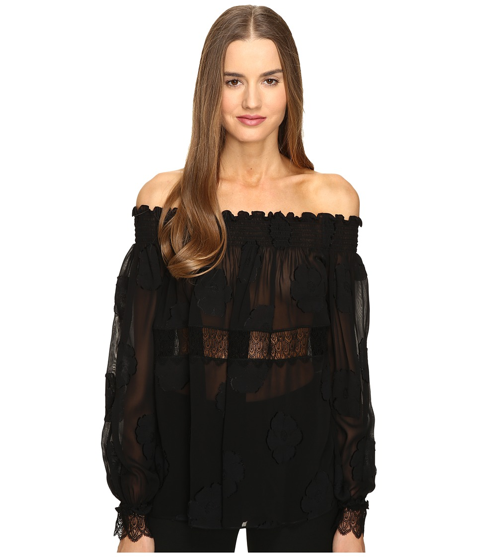 YIGAL AZROU L - Open Shoulder Smocked Fille Coupe Top (Black) Women's Clothing