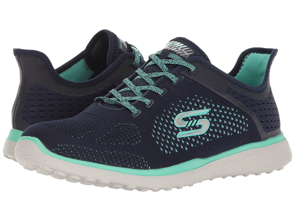 SKECHERS - Mircroburst - Supersonic (Navy/Green) Women's Lace up casual Shoes