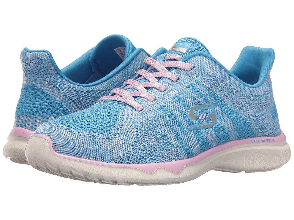 SKECHERS - Studio Burst - Edgy (Blue/Pink) Women's Lace up casual Shoes
