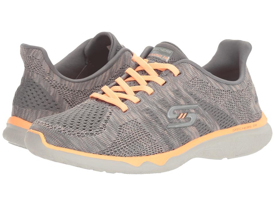 SKECHERS - Studio Burst - Edgy (Gray/Orange) Women's Lace up casual Shoes
