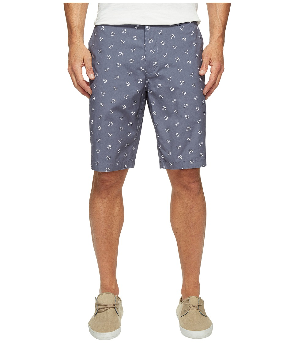 Dockers Men's - Perfect Short Classic Fit Flat Front (Anchor Print Vintage Indigo Stretch) Men's Shorts