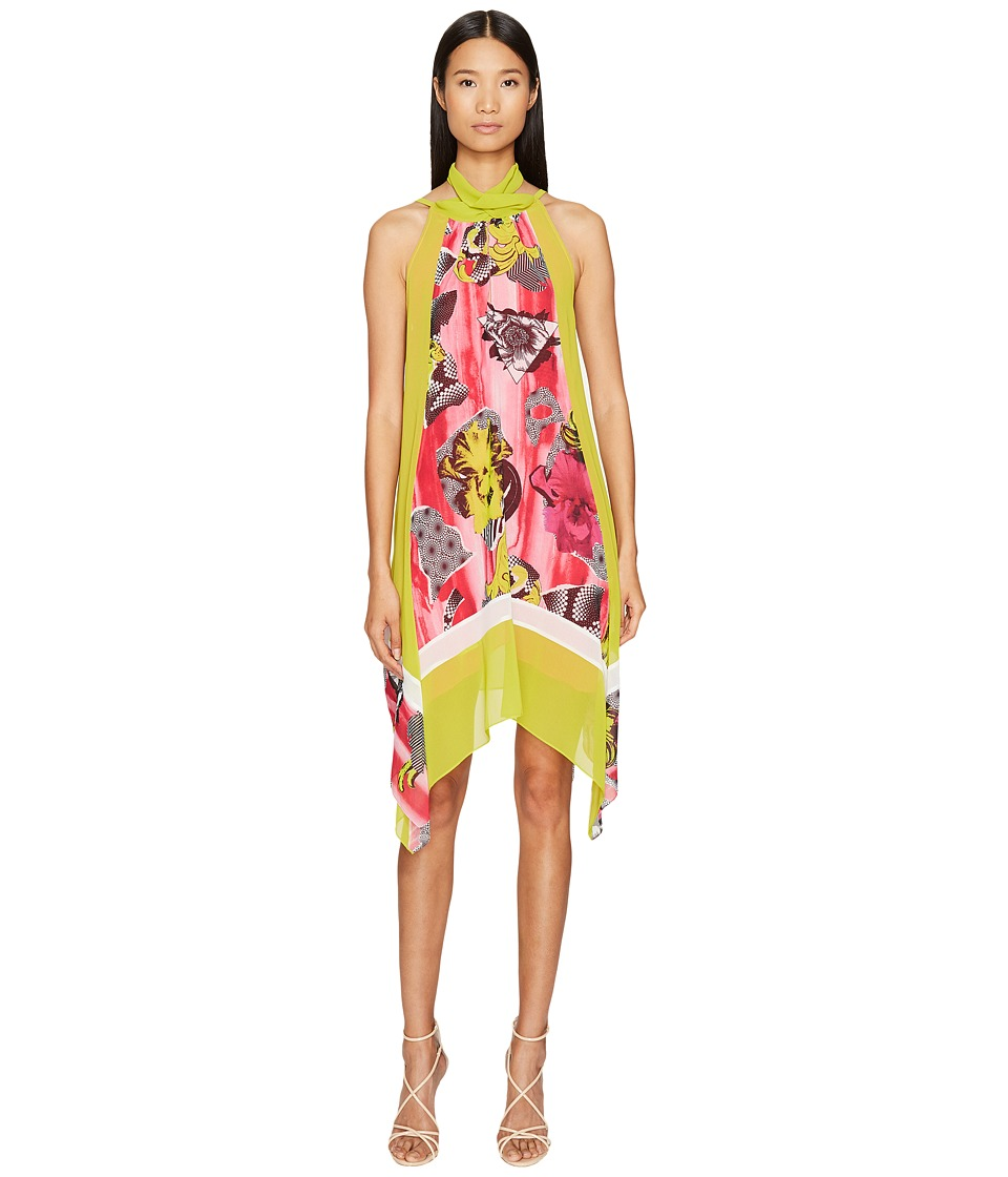 Versace Collection - Woven High Neck Dress (Lime/Stampa) Women's Dress